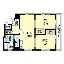 明秀ビル 4階2LDKの間取り