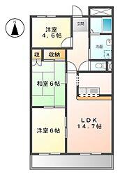 愛知県日進市栄4丁目の賃貸マンションの間取り