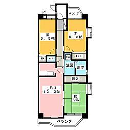 ロイヤルパレスフジ[4階]の間取り
