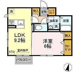 仮)D-roomよしわらB 2階1LDKの間取り