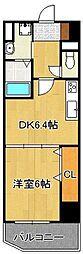 CONFORT SQUARE LUXE 6階1DKの間取り