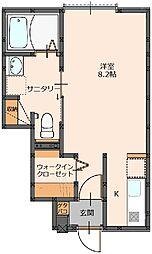 RUSHI 1階1Kの間取り