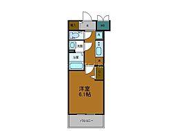 Osaka Metro谷町線 四天王寺前夕陽ヶ丘駅 徒歩6分の賃貸マンション 2階1Kの間取り