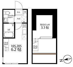 ハーミットクラブハウス戸塚IV(仮称) 2階ワンルームの間取り
