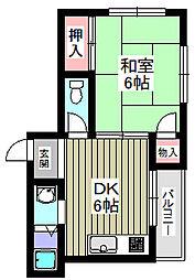 エス・ティハイム 2階1DKの間取り
