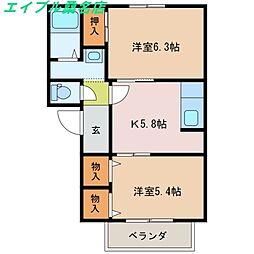 ハイム柳原C[2階]の間取り