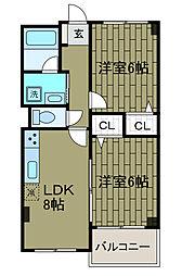 シャトーレ新百合[3階]の間取り
