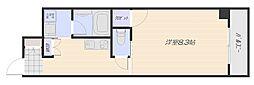 広島電鉄宮島線 楽々園駅 徒歩3分の賃貸マンション 11階1Kの間取り