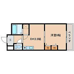 奈良県橿原市新口町の賃貸マンションの間取り