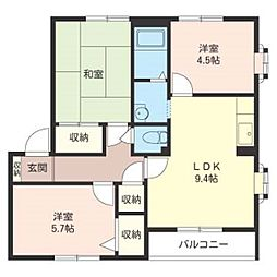 MASTリブウェル六高B棟201号室[2階]の間取り