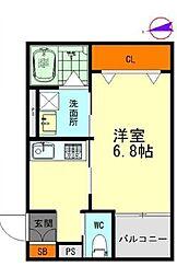 名鉄名古屋本線 栄生駅 徒歩9分の賃貸アパート 2階1Kの間取り