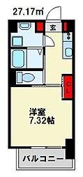 仮) 折尾4丁目マンション 3階1Kの間取り