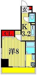 (仮)越谷プロジェクト 6階1Kの間取り