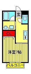 デュオ—ラ江戸川台[202号室]の間取り
