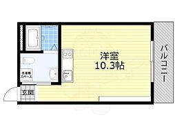 JR東海道・山陽本線 吹田駅 徒歩14分の賃貸マンション 1階ワンルームの間取り