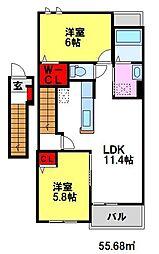 カルム・メゾンB 2階2LDKの間取り