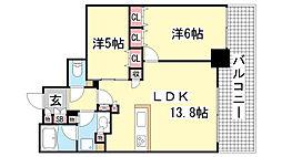 シティタワー神戸三宮[10F号室]の間取り