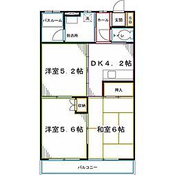 西武国分寺線 恋ヶ窪駅 徒歩10分の賃貸マンション 2階3Kの間取り