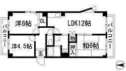 アクティハイツ宝塚[7階]の間取り