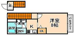 兵庫県伊丹市西野1丁目の賃貸アパートの間取り