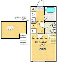 多摩都市モノレール 中央大学・明星大学駅 徒歩4分の賃貸アパート 2階1Kの間取り