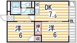 松栄畷ハイツ[202号室]の間取り