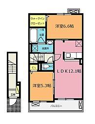 埼玉県鴻巣市小松1丁目の賃貸アパートの間取り