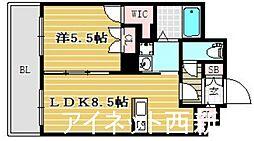 福岡市地下鉄空港線 唐人町駅 徒歩8分の賃貸マンション 3階1LDKの間取り