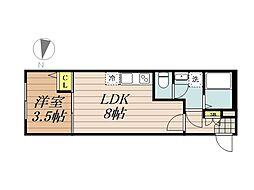 JR京浜東北・根岸線 与野駅 徒歩10分の賃貸アパート 1階1LDKの間取り