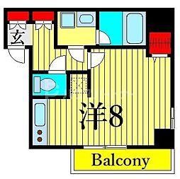 ジェノヴィア木場スカイガーデン 4階ワンルームの間取り