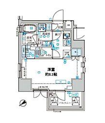 東京メトロ東西線 門前仲町駅 徒歩6分の賃貸マンション 3階1Kの間取り