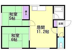 並木町一棟二戸 1 2階2LDKの間取り