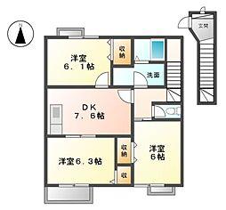 三重県桑名市長島町平方の賃貸アパートの間取り