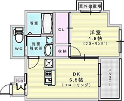 Osaka Metro御堂筋線 江坂駅 徒歩15分の賃貸マンション 5階1DKの間取り