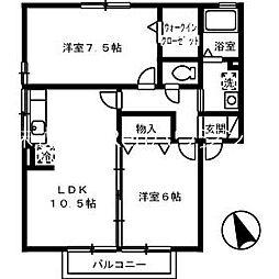JR鳴門線 鳴門駅 5.2kmの賃貸アパート 2階2LDKの間取り