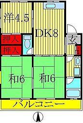 コーポKIKU A棟[102号室]の間取り