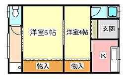 大阪府河内長野市木戸2丁目の賃貸アパートの間取り