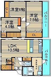 [一戸建] 大阪府堺市北区中百舌鳥町3丁 の賃貸【/】の間取り