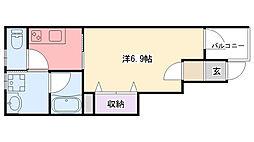 阪神本線 鳴尾・武庫川女子大前駅 徒歩6分の賃貸アパート 1階1Kの間取り