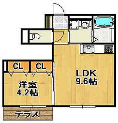 兵庫県宝塚市仁川月見ガ丘の賃貸アパートの間取り