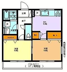 西武池袋線 東久留米駅 徒歩23分の賃貸マンション 2階2DKの間取り