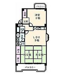 七反田ハイツ[3階]の間取り