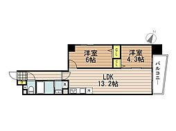 JR京浜東北・根岸線 さいたま新都心駅 徒歩10分の賃貸マンション 7階2LDKの間取り