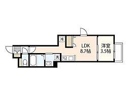 月光江波東参番館 1階1LDKの間取り