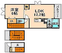 兵庫県伊丹市昆陽南2丁目の賃貸アパートの間取り