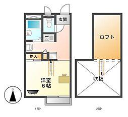 レオパレス銀壽[1階]の間取り