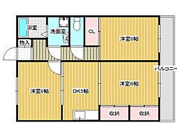 大県マンションII[2階]の間取り