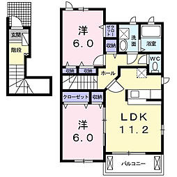 愛知県名古屋市瑞穂区中根町4丁目の賃貸アパートの間取り