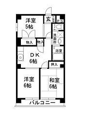 サニーヒルマンション[502号室]の間取り