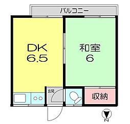 東京都中野区本町6丁目の賃貸アパートの間取り